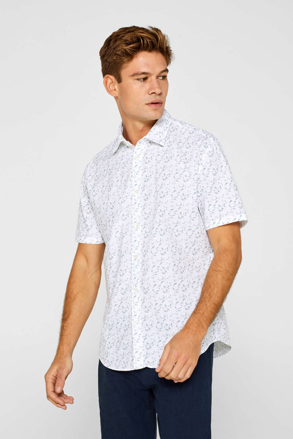 Esprit - Patterned short sleeve shirt made of 100% cotton