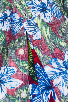 Short-sleeved shirt with a floral print, 100% cotton