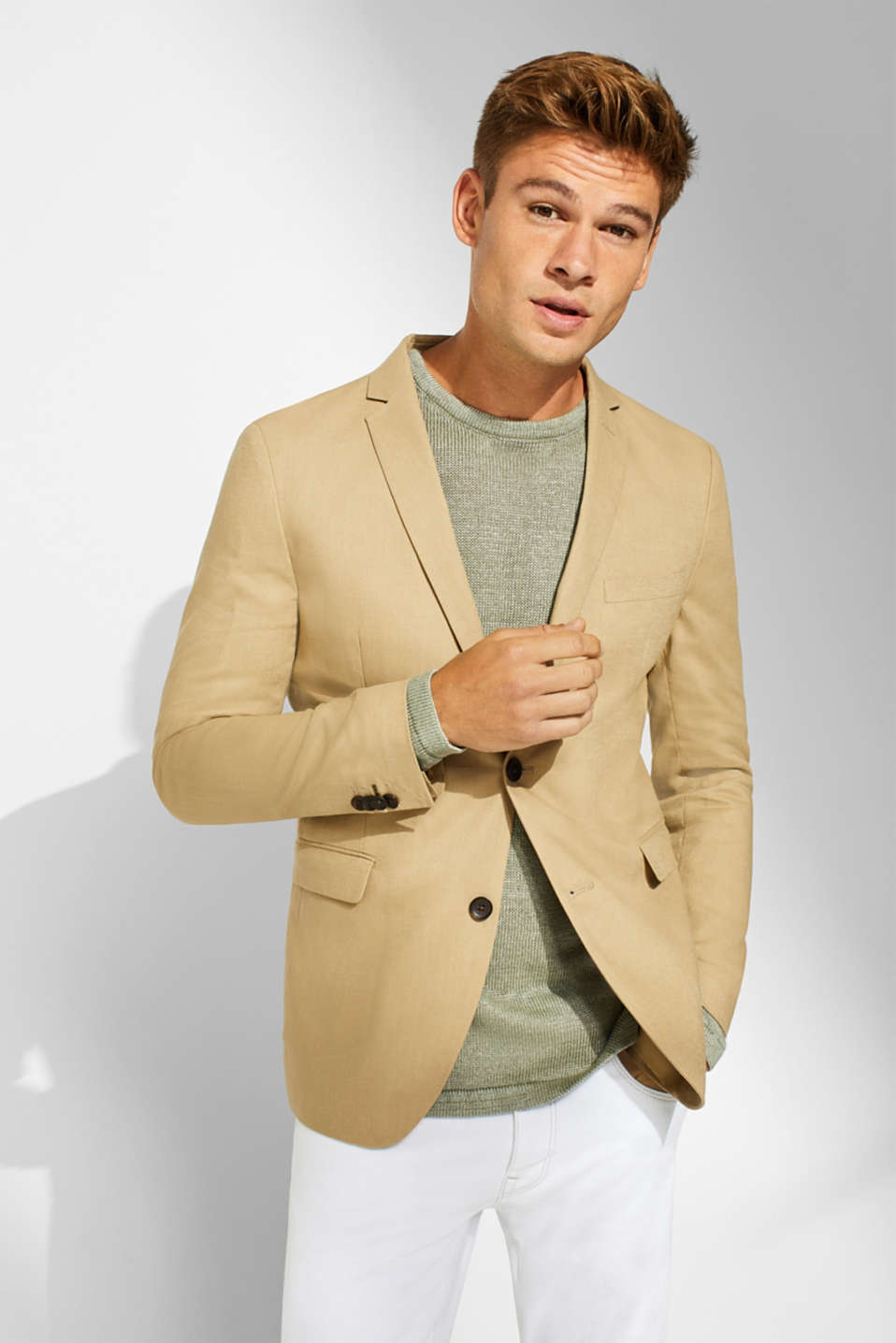 Esprit - Blended linen: sports jacket with printed lining