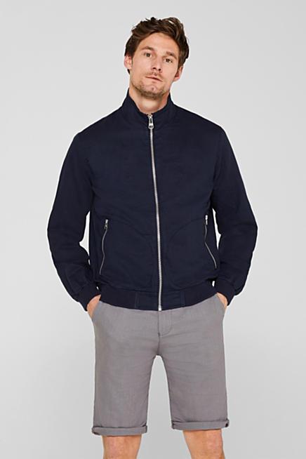 0a710d91d48 Linen blend  blouson with a stand-up collar