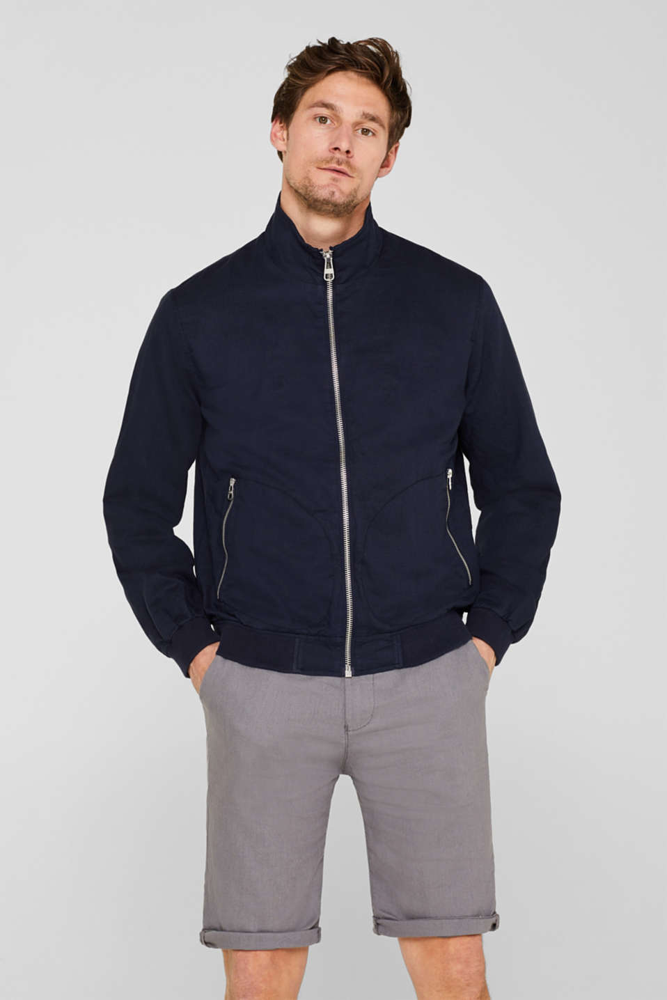 Esprit - Linen blend: blouson with a stand-up collar