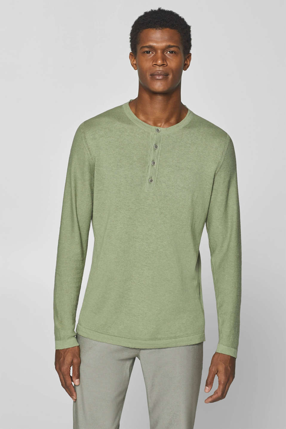 Esprit - Linen blend: Henley T-shirt in knit fabric
