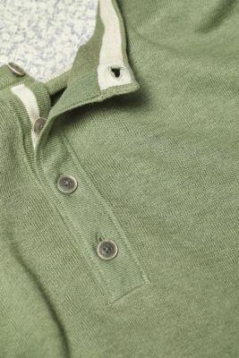 Linen blend: Henley T-shirt in knit fabric