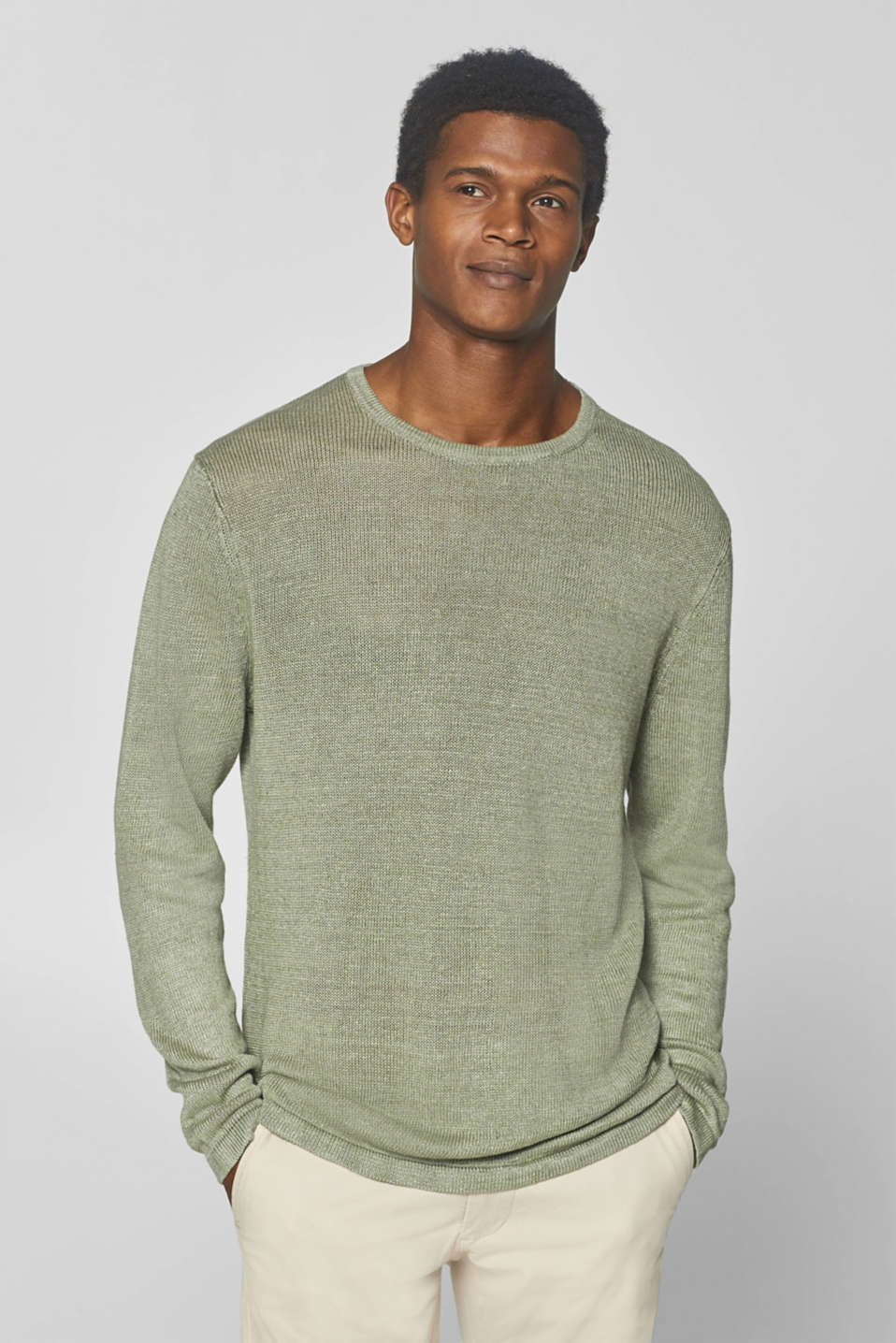 Esprit - 100% linen: jumper made of melange knit fabric
