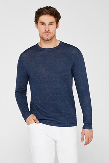 f8202e11d7f 100% linen  jumper made of melange knit fabric
