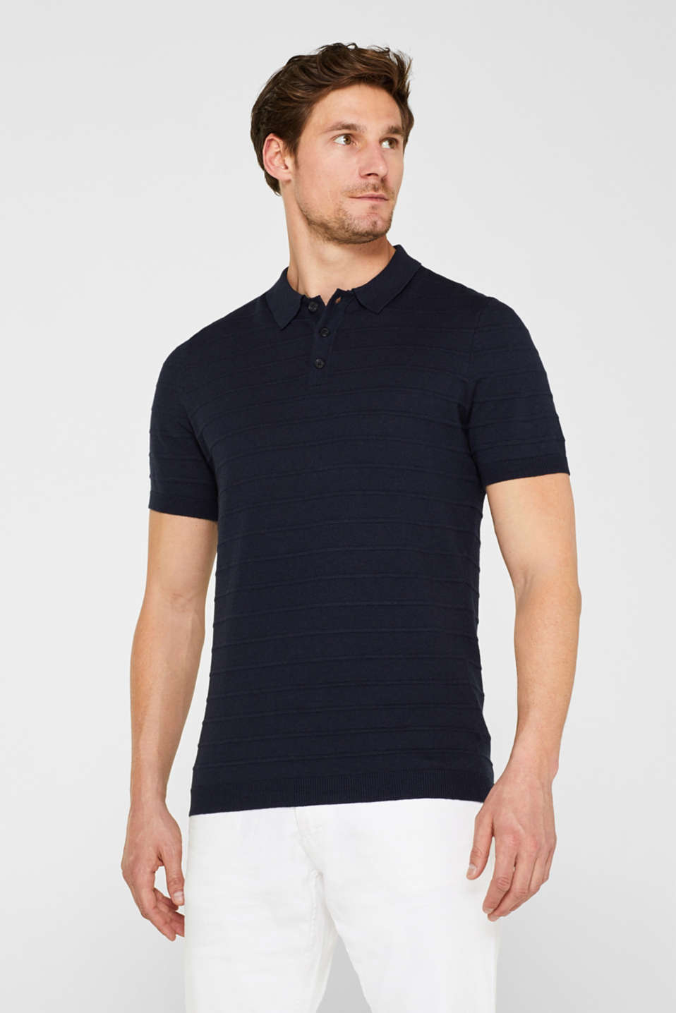 Esprit - Linen blend: polo shirt made of lightweight knit fabric