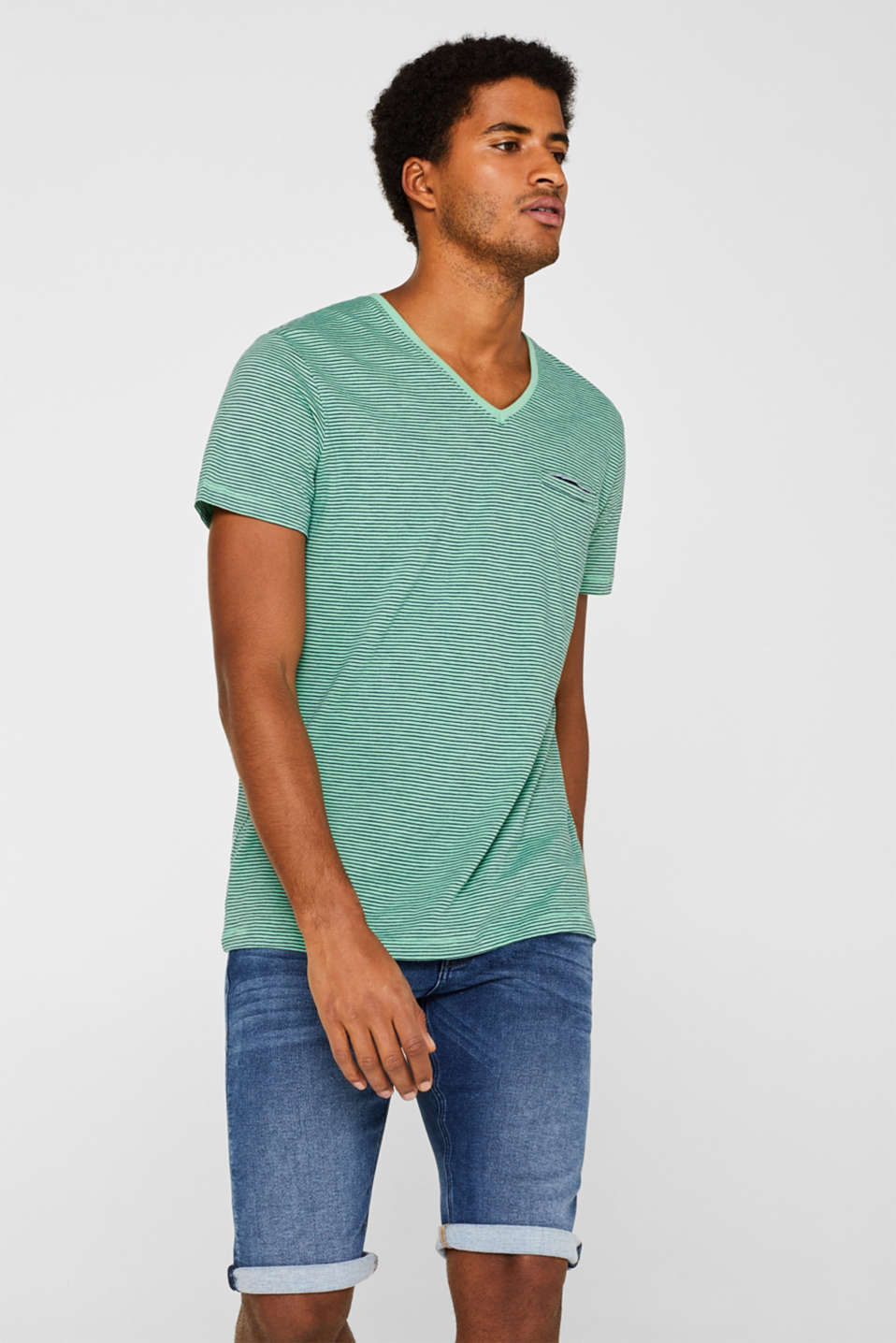 Esprit - Striped jersey T-shirt in 100% cotton