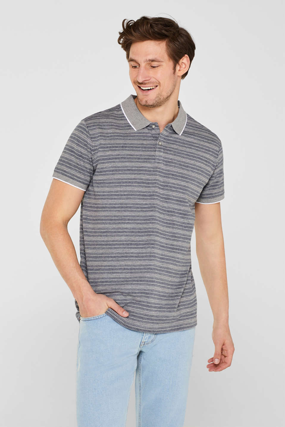 Esprit - Jersey polo shirt with a tribal pattern