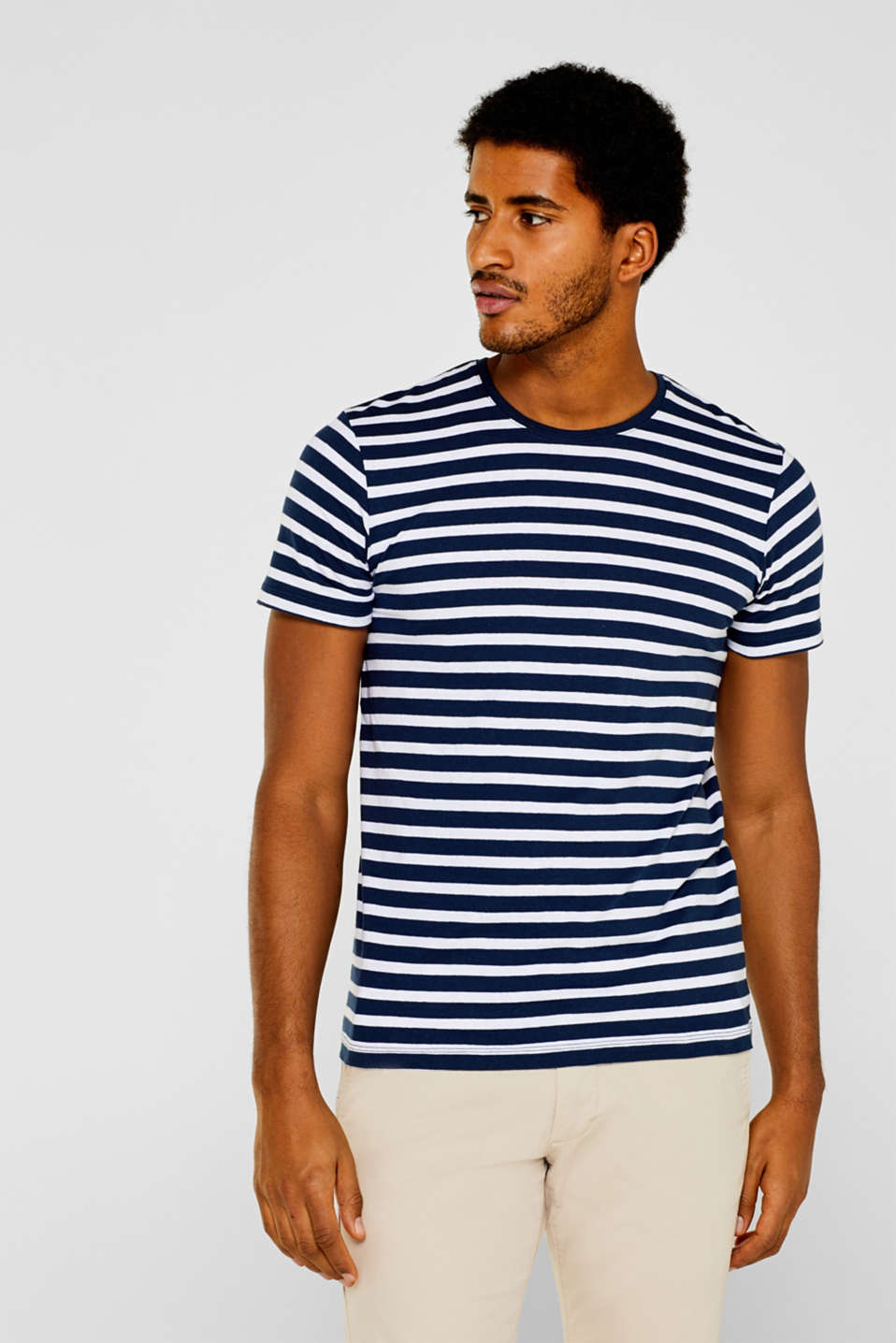 Esprit - Linen blend: Striped jersey T-shirt