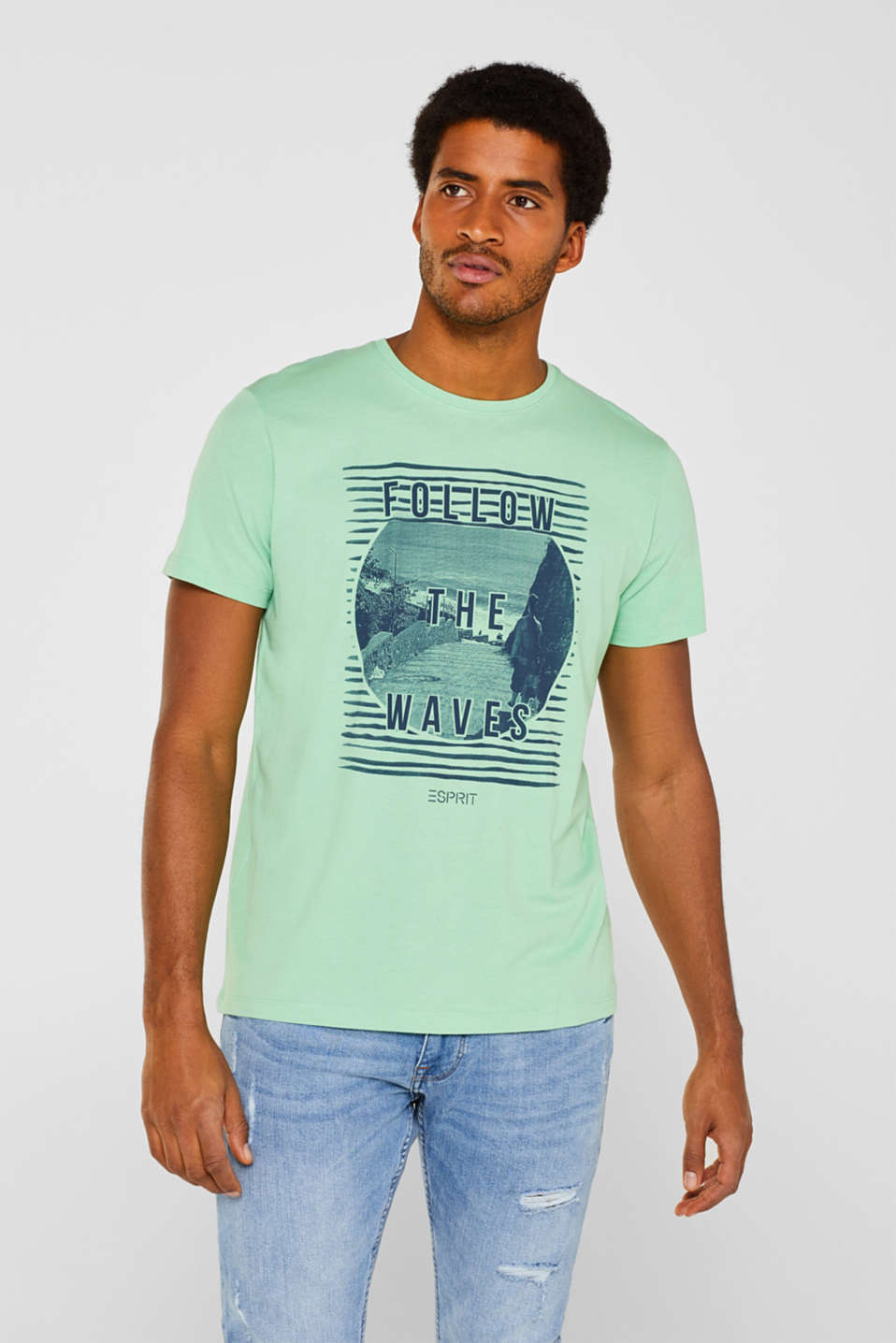 Esprit - Jersey T-shirt with photo print, 100% cotton