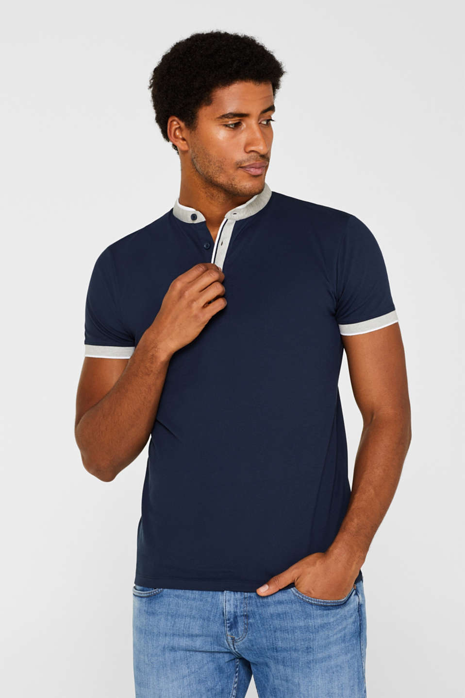 Esprit - Piqué polo shirt with a stand-up collar