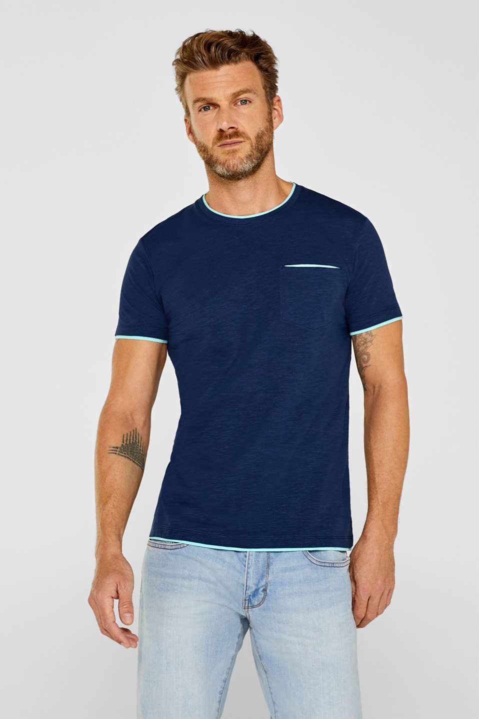 Esprit - Layered look jersey T-shirt, 100% cotton