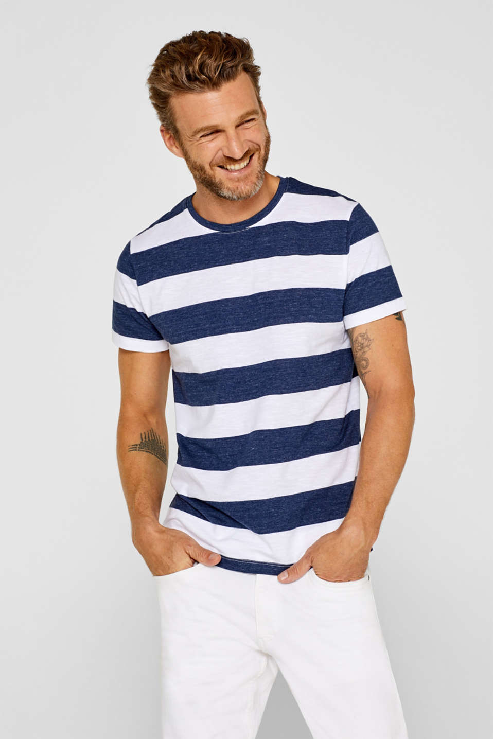 Esprit - Slub jersey top with stripes