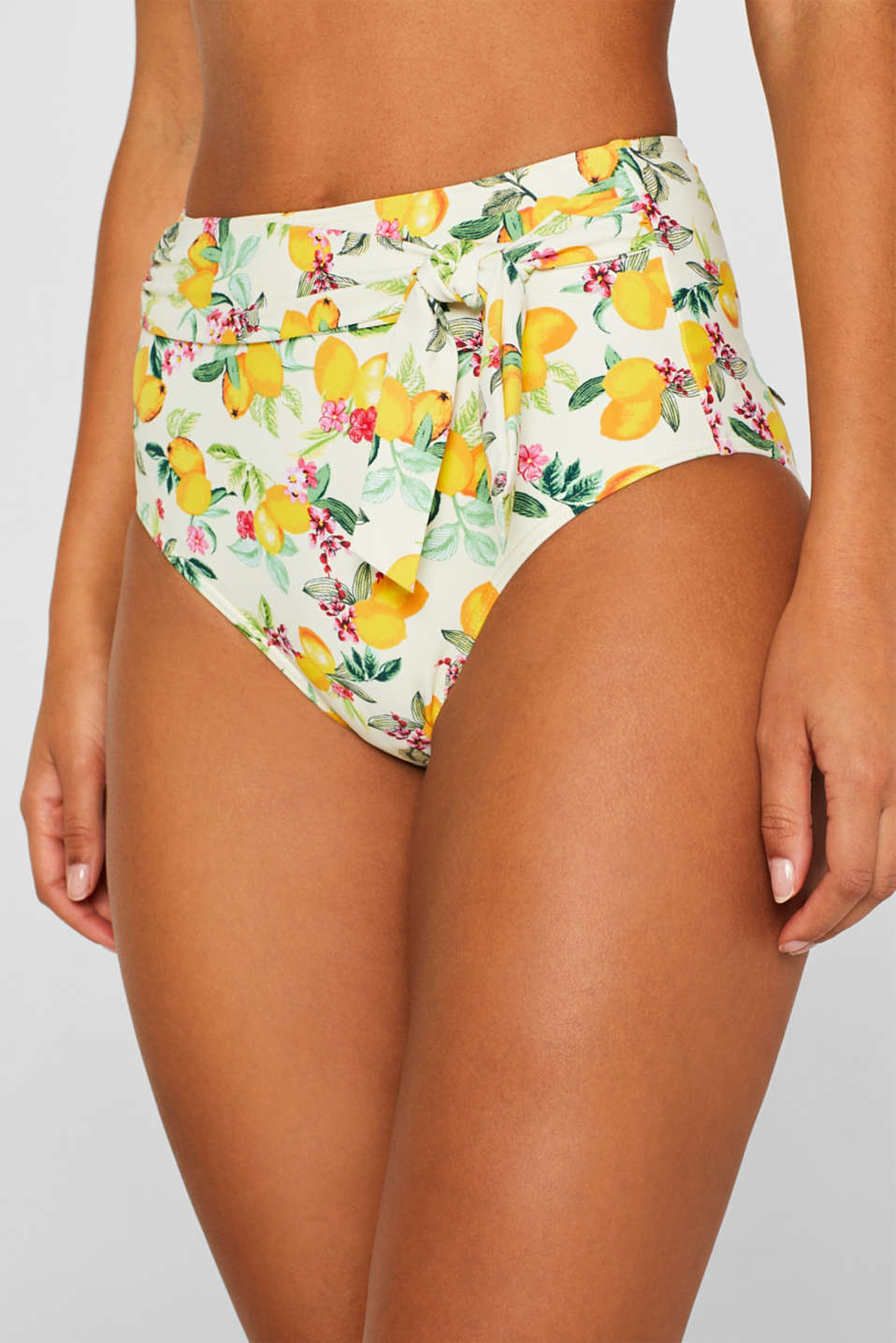 High-waisted briefs with lemon print and sash, BRIGHT YELLOW, detail image number 1