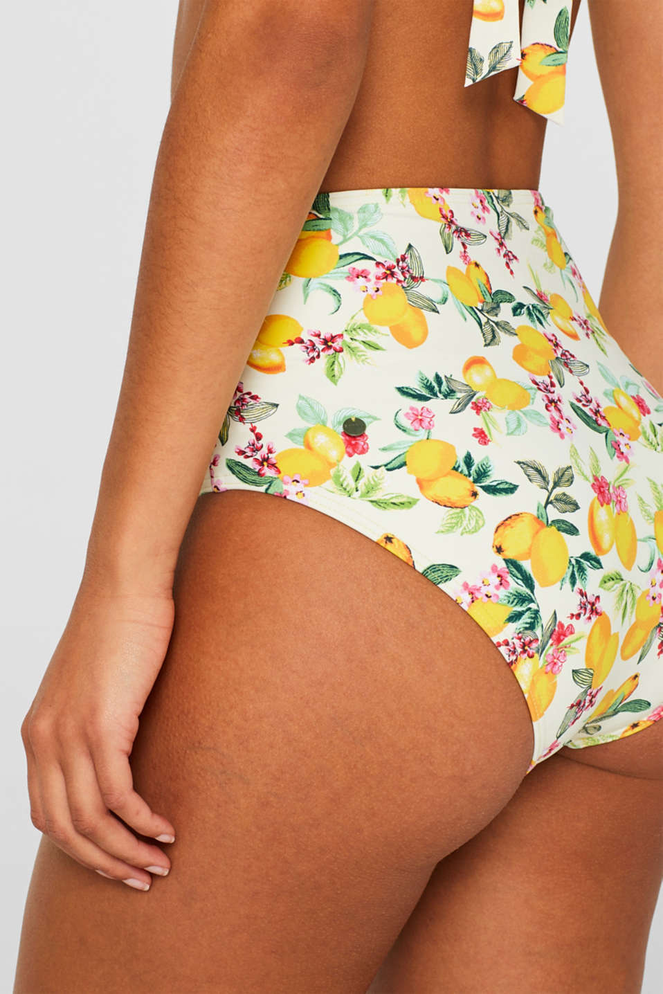 High-waisted briefs with lemon print and sash, BRIGHT YELLOW, detail image number 3