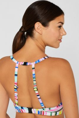Underwired top for larger cup sizes with neon stripes