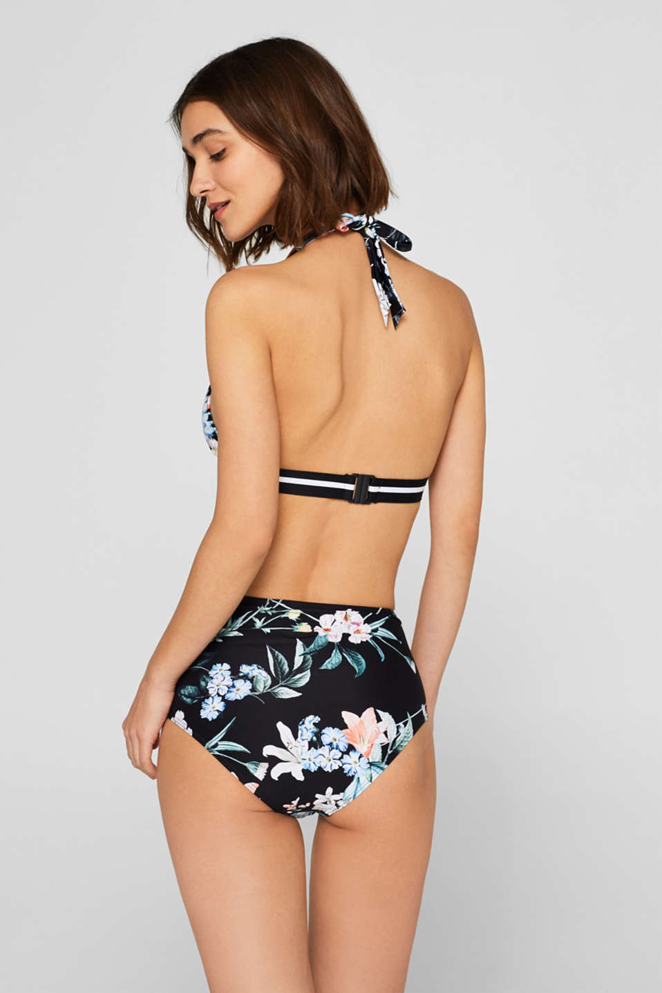 High-waist briefs with a floral print and belt, BLACK, detail image number 2