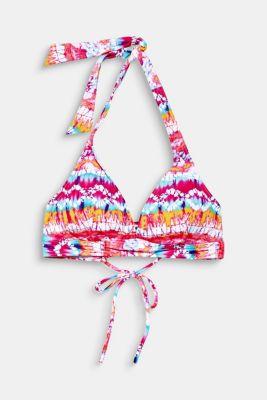 Padded halter neck top with batik print, PINK FUCHSIA, detail