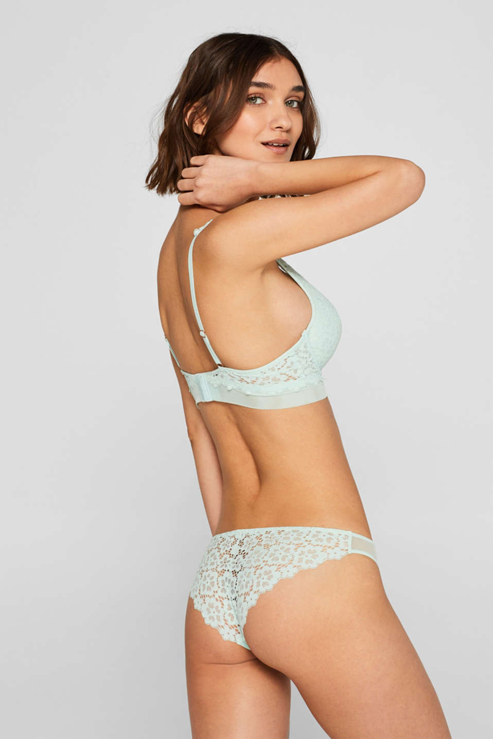 Bras with wire, LIGHT AQUA GREEN, detail image number 1