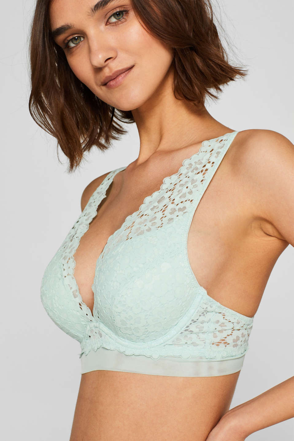 Bras with wire, LIGHT AQUA GREEN, detail image number 2