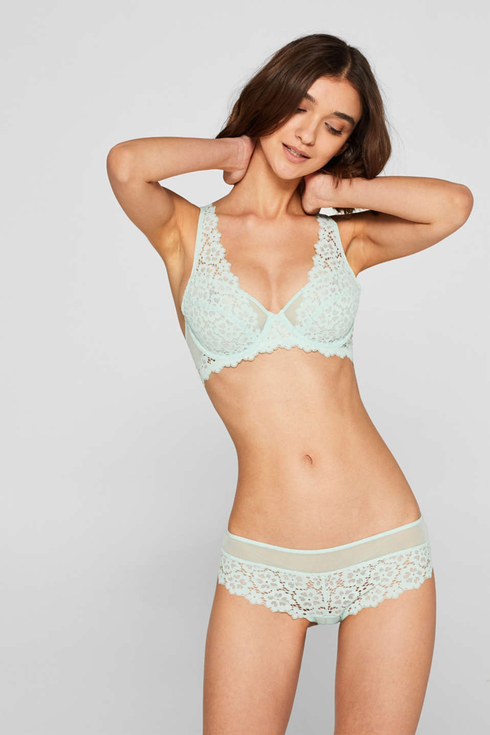Non-padded underwire bra made of lace in a crocheted look, LIGHT AQUA GREEN, detail image number 0