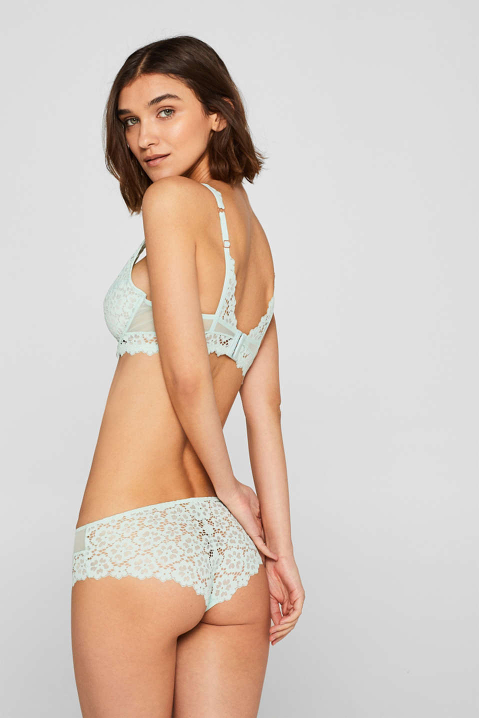 Non-padded underwire bra made of lace in a crocheted look, LIGHT AQUA GREEN, detail image number 1