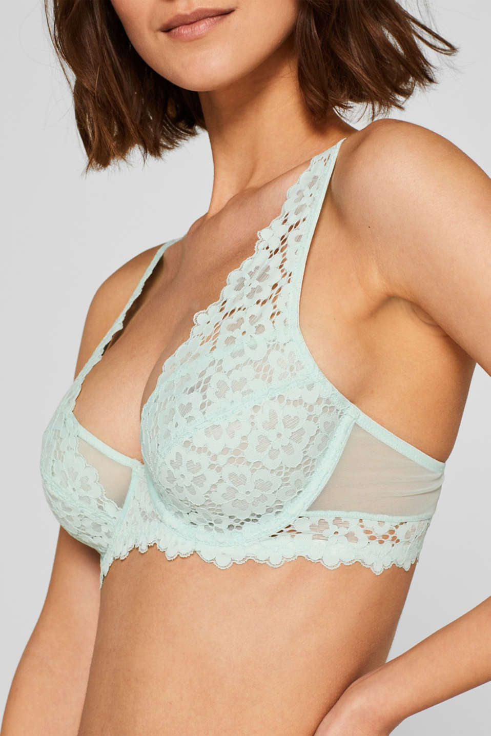 Non-padded underwire bra made of lace in a crocheted look, LIGHT AQUA GREEN, detail image number 2