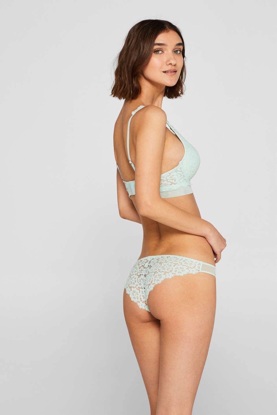 Brazilian hipster briefs made of lace in a crocheted look, LIGHT AQUA GREEN, detail image number 2
