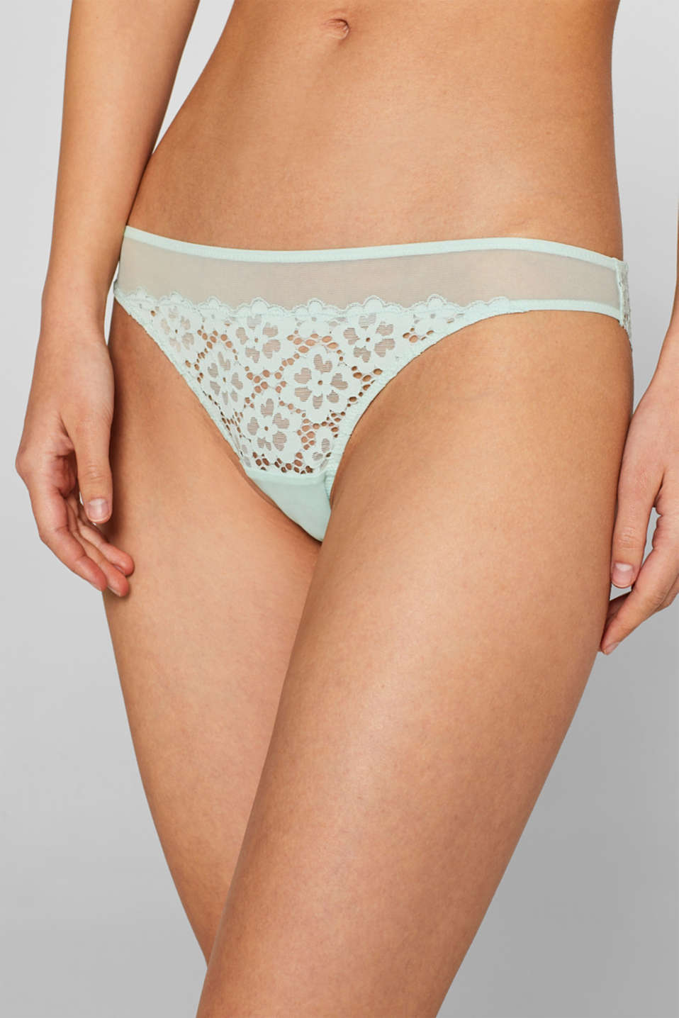 Brazilian hipster briefs made of lace in a crocheted look, LIGHT AQUA GREEN, detail image number 1
