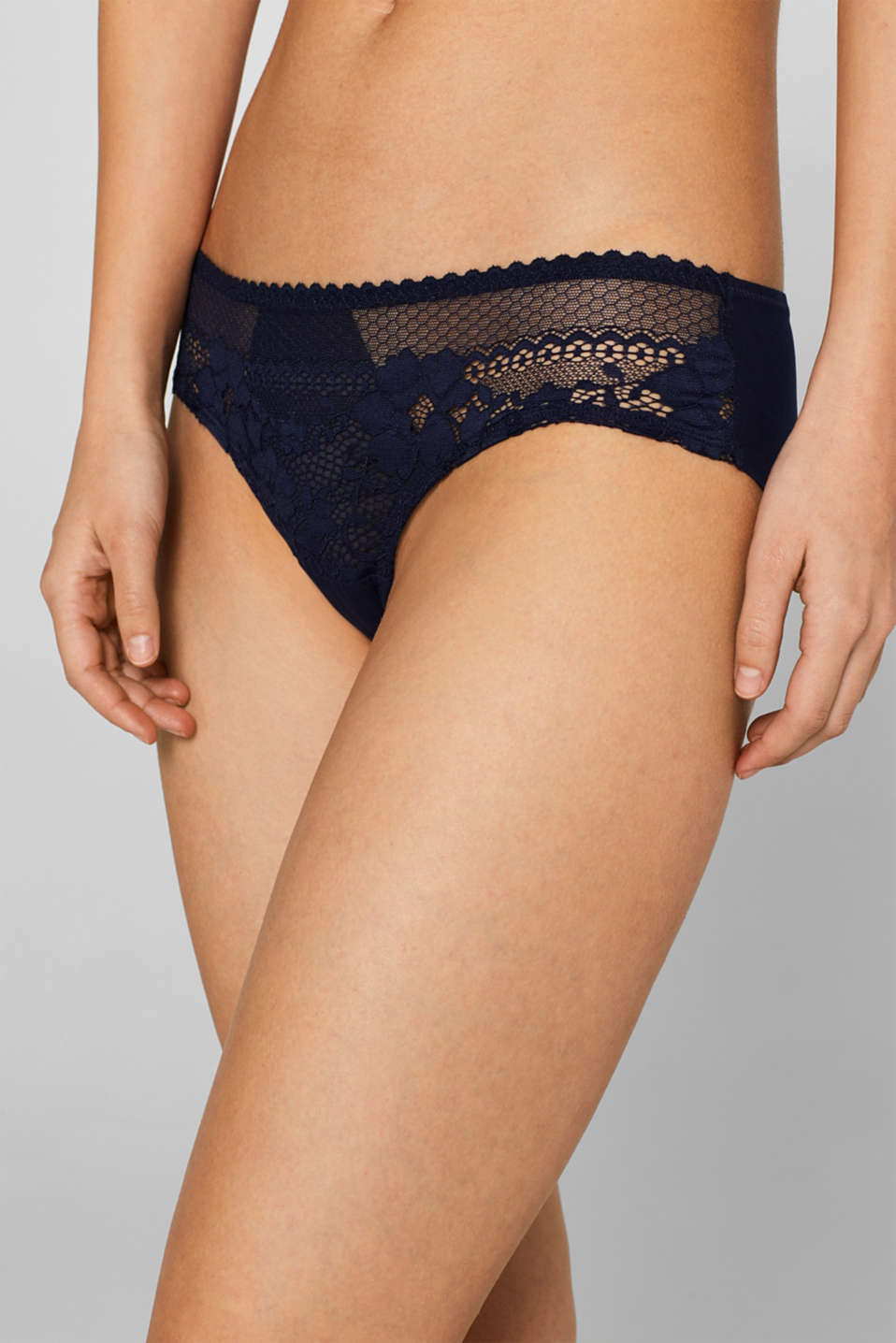 Brazilian hipster shorts in retro lace, NAVY, detail image number 1