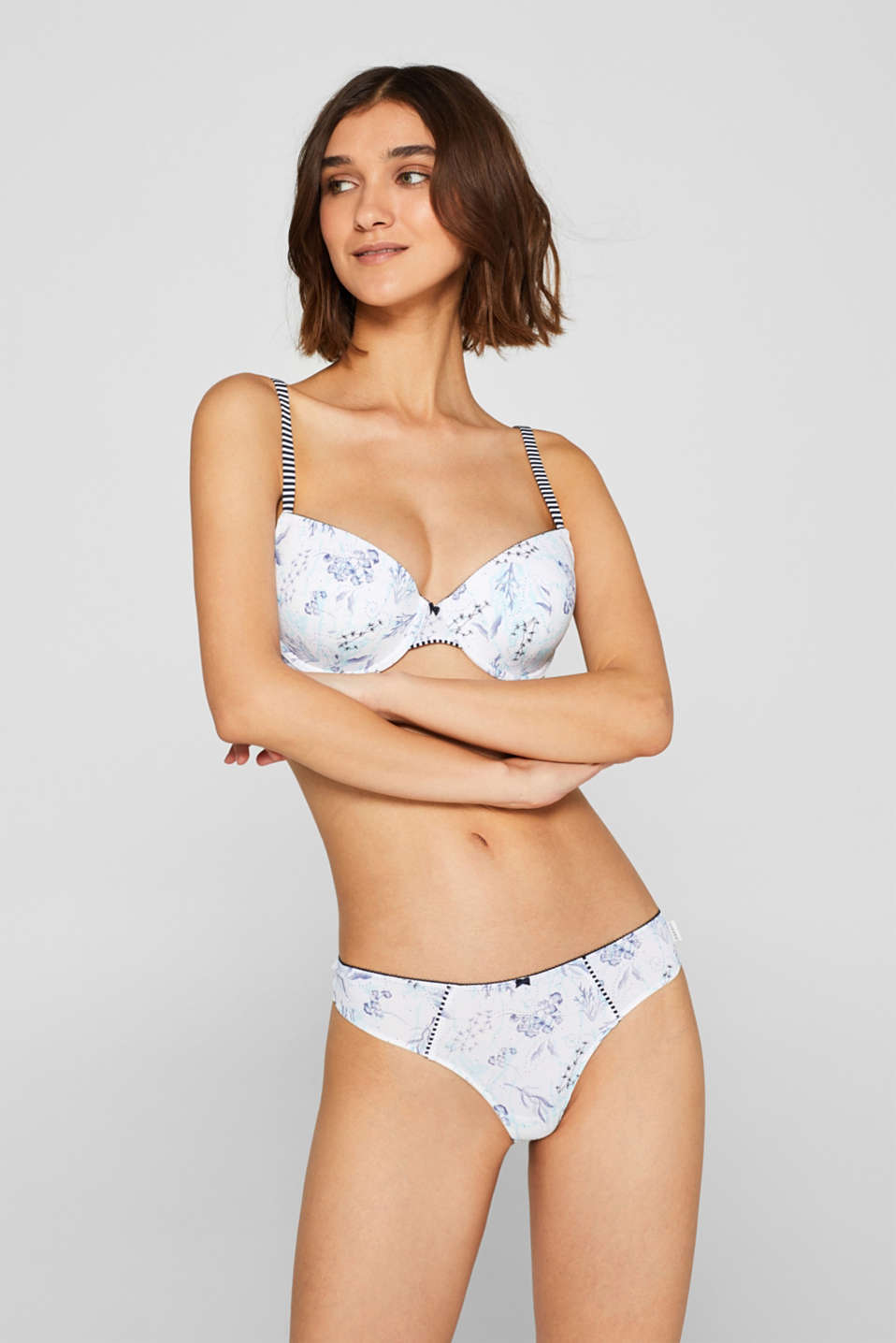 Esprit - Padded underwire bra with a floral print