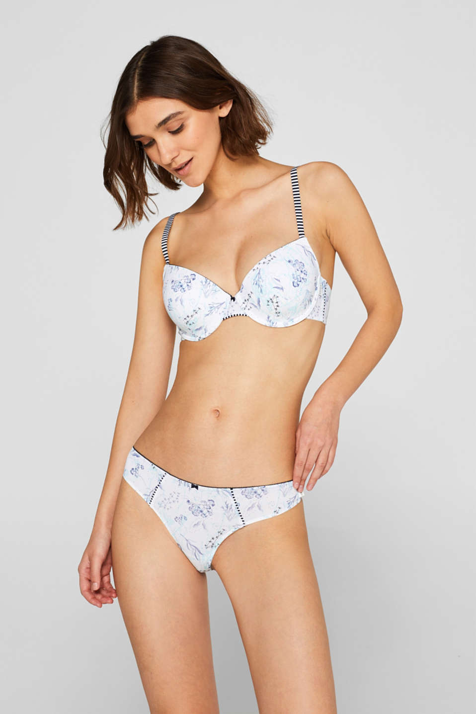 Hipster thong with a floral print, WHITE, detail image number 0