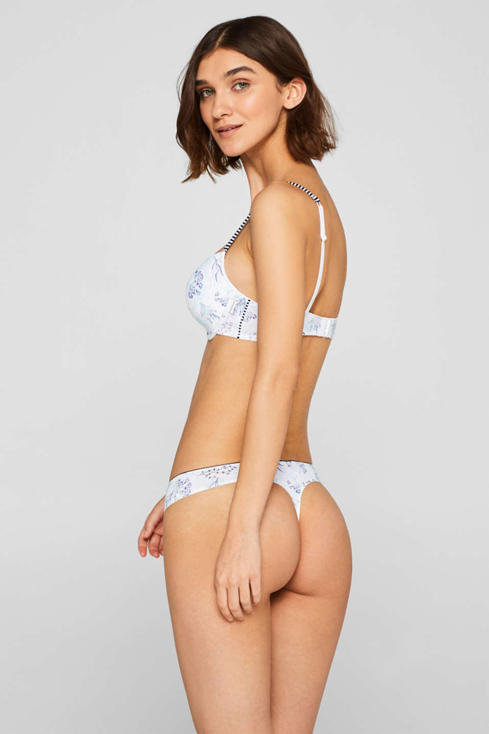 Hipster thong with a floral print, WHITE, detail image number 2