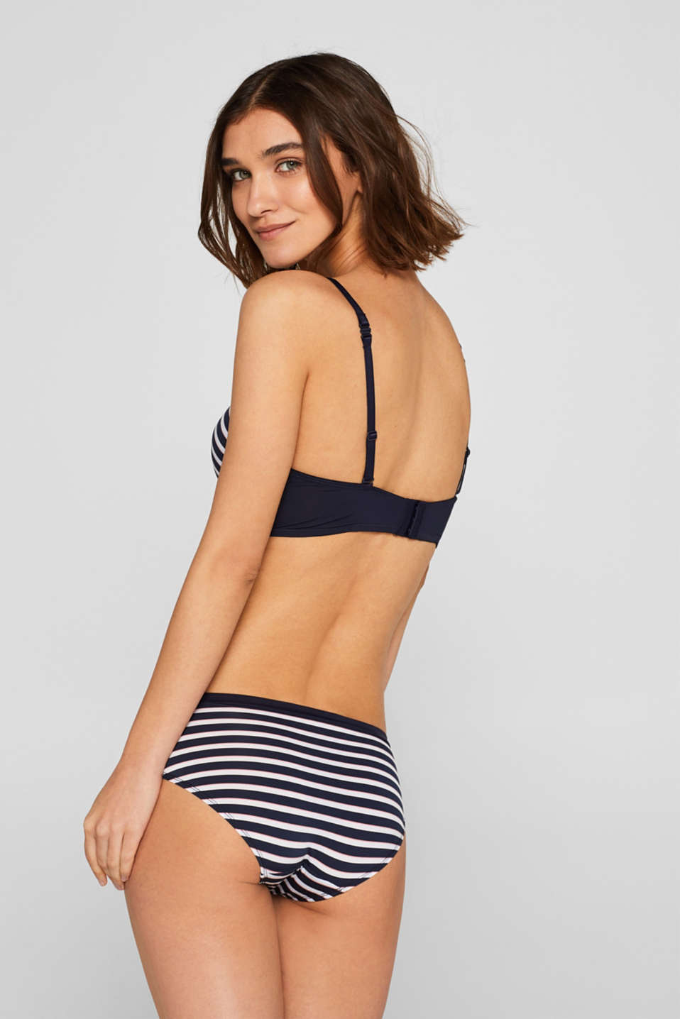 Padded non-wired bra with stripes, NAVY, detail image number 1