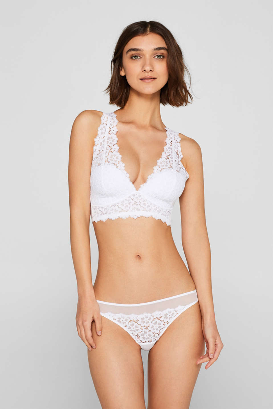 Esprit - Padded bralet made of tulle and lace
