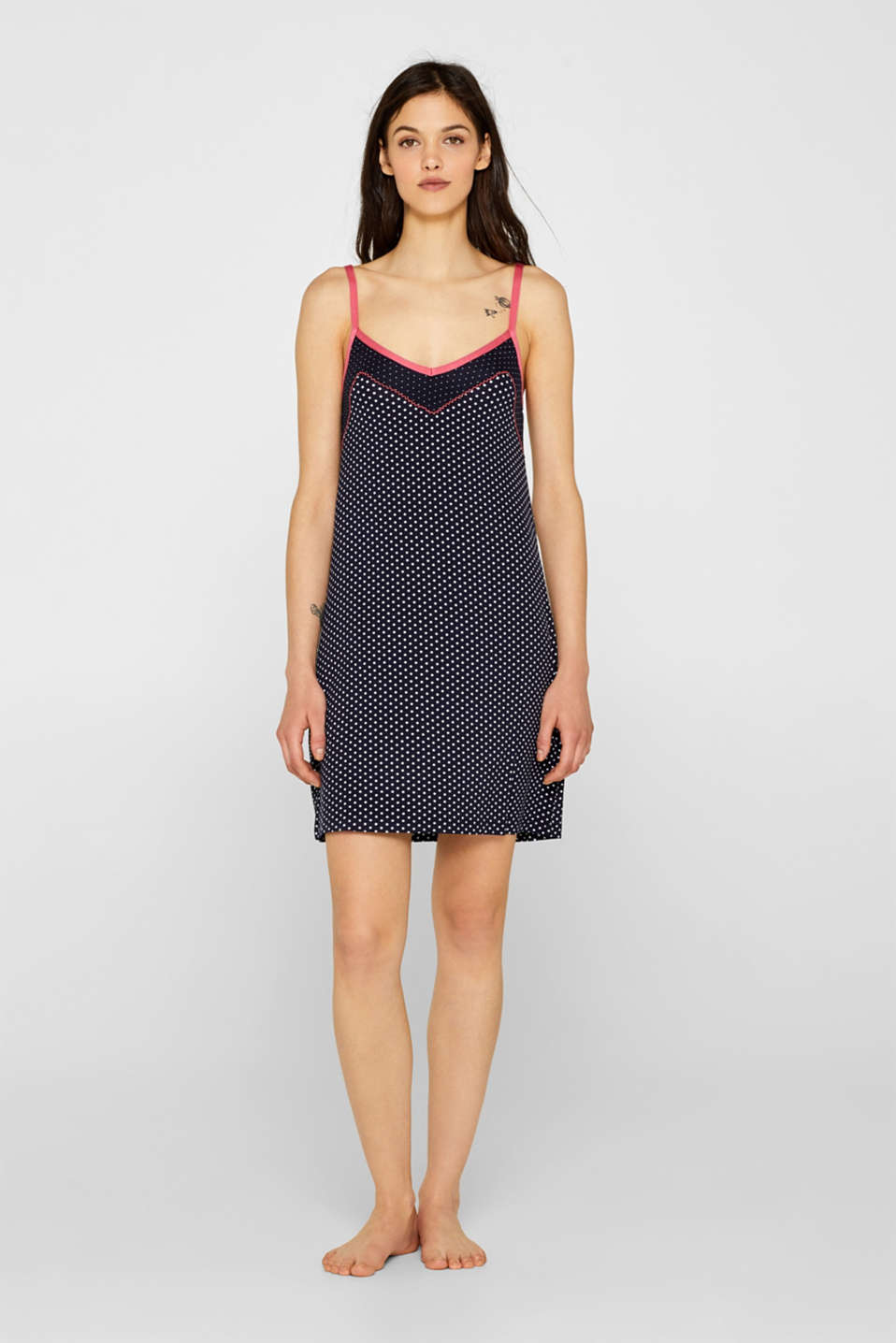 Esprit - Stretch jersey chemise with two kinds of polka dots