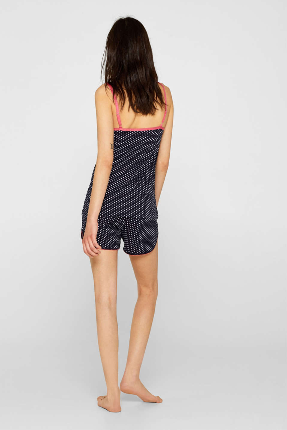 Stretch jersey top with two kinds of polka dots, NAVY, detail image number 1