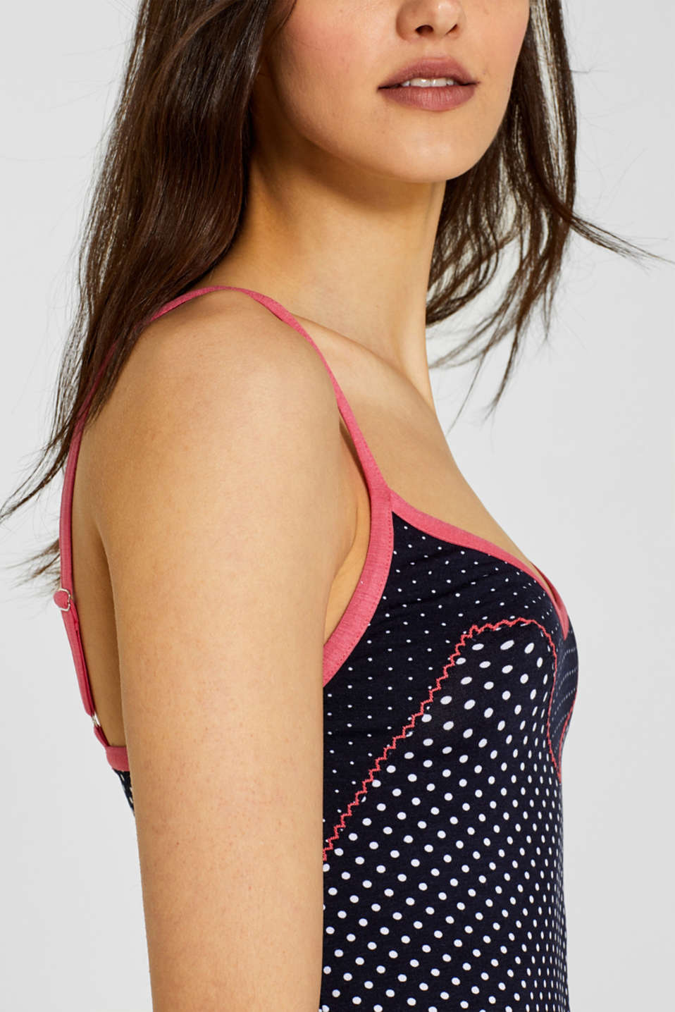 Stretch jersey top with two kinds of polka dots, NAVY, detail image number 2