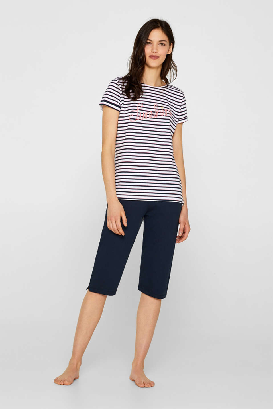 Esprit - Jersey pyjamas with a statement print, 100% cotton