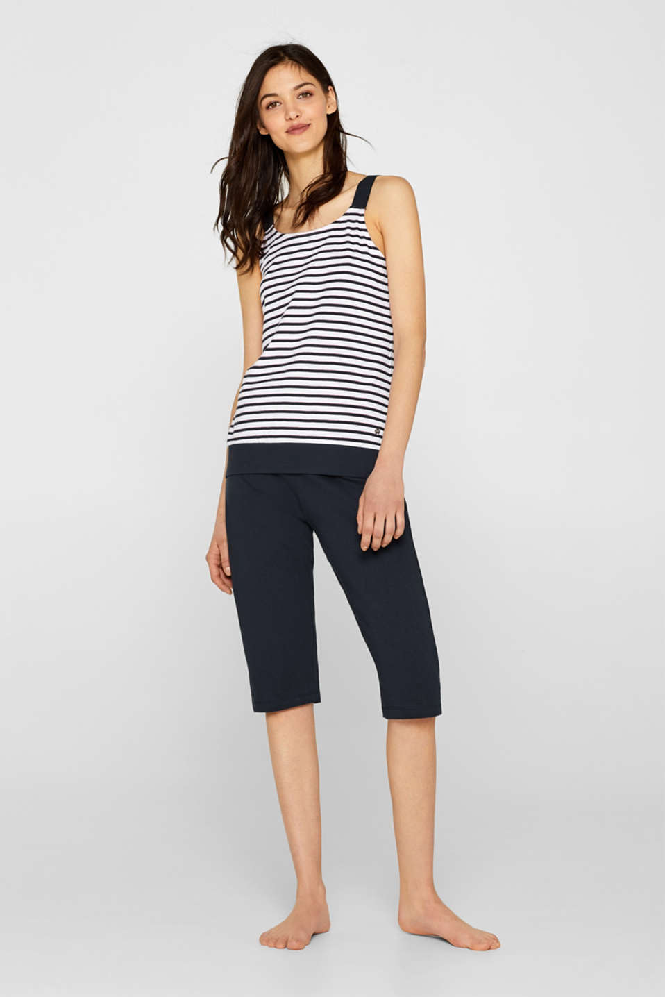 Esprit - Jersey pyjamas with a strappy top, 100% cotton