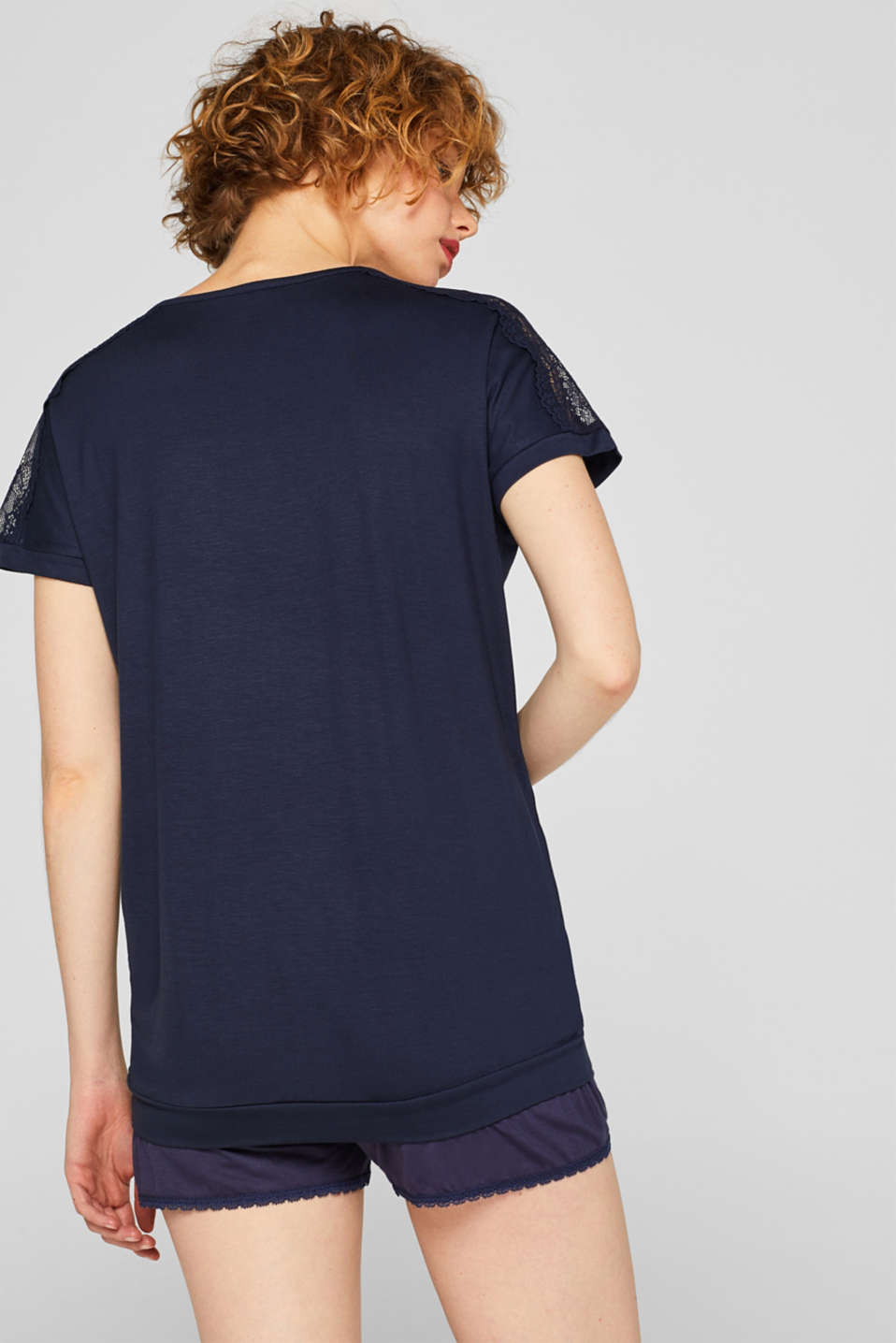 Lace-trimmed stretch T-shirt, NAVY, detail image number 2