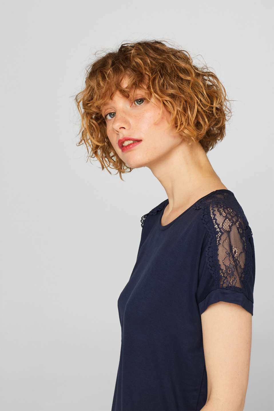 Lace-trimmed stretch T-shirt, NAVY, detail image number 3