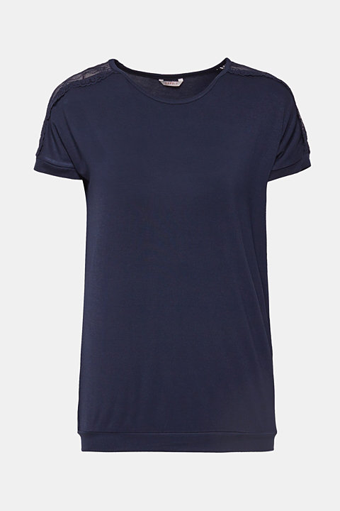 Lace-trimmed stretch T-shirt