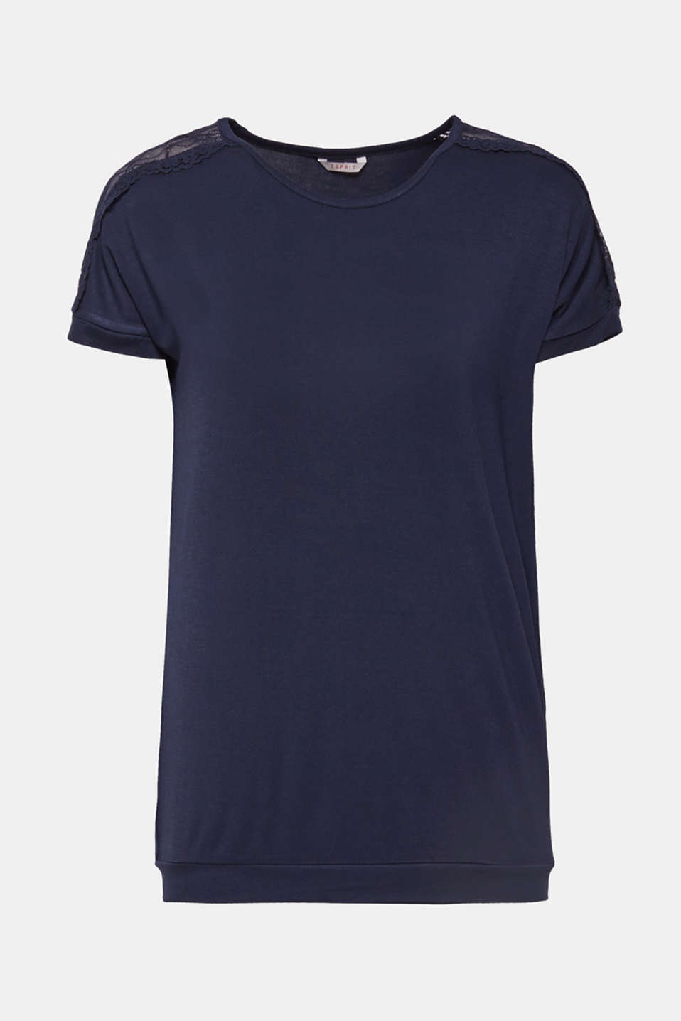 Lace-trimmed stretch T-shirt, NAVY, detail image number 4