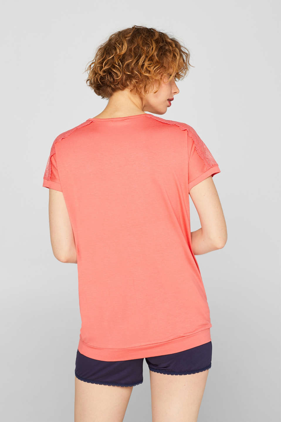 Lace-trimmed stretch T-shirt, CORAL, detail image number 2