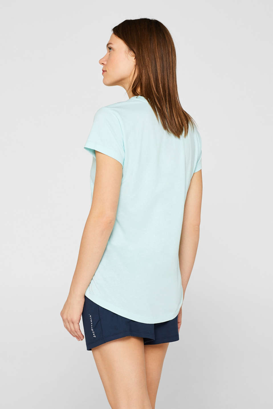 Printed top with a V-neckline, 100% cotton, AQUA GREEN, detail image number 1