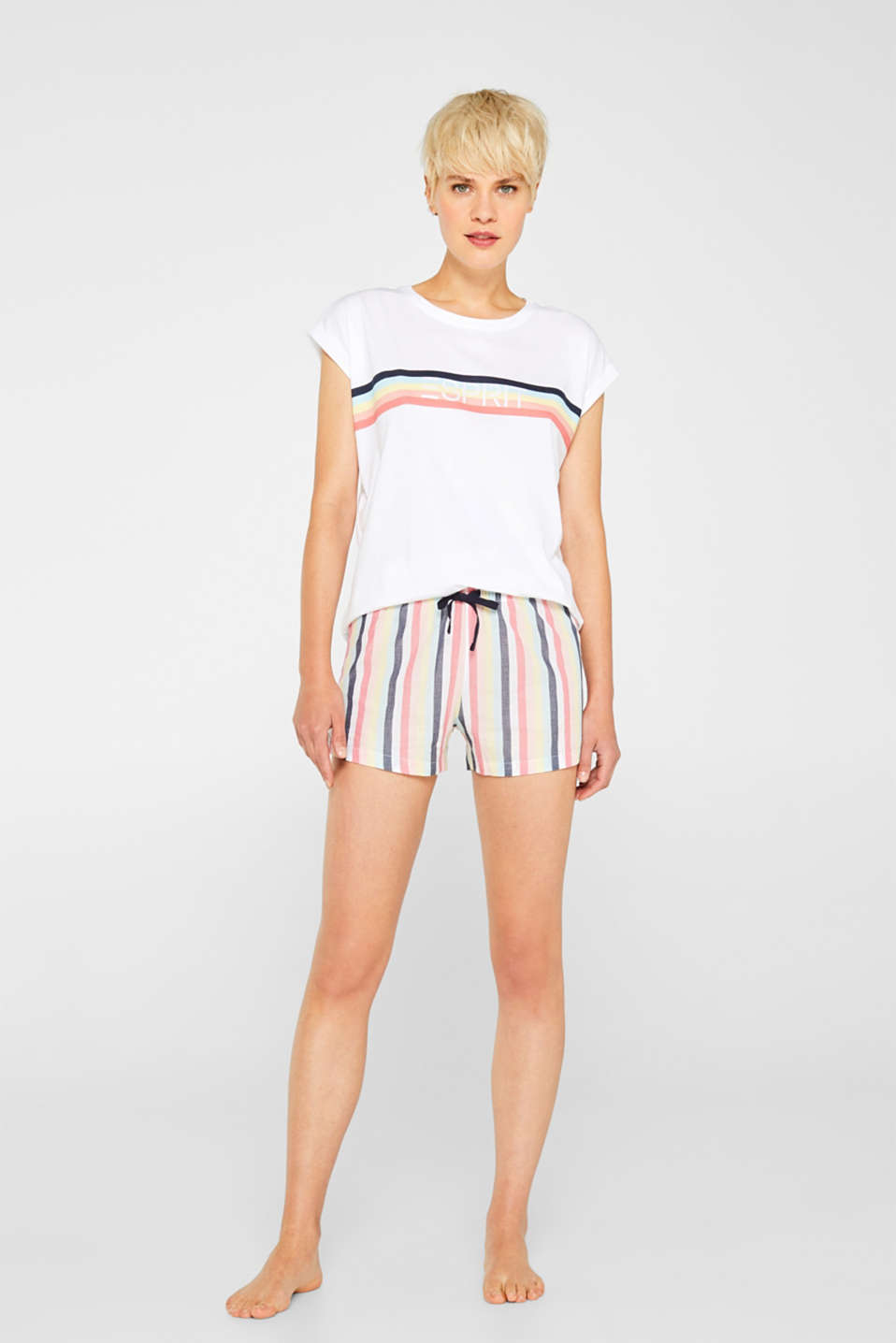 Esprit - T-shirt with a striped logo print, 100% cotton