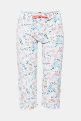 Jersey Capris with frills, 100% cotton, OFF WHITE, detail