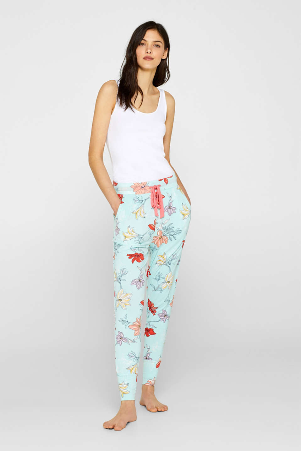 Esprit - Stretch jersey trousers with a colourful floral print