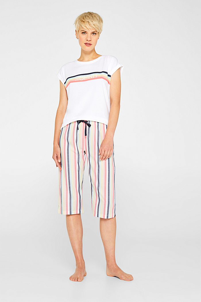 Fabric capris with stripes, 100% cotton, CORAL, detail image number 0